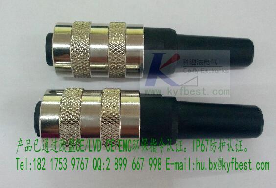 【产品芯数】 M16连接器8针8孔公头为180度直型。针芯数为3针、4针、5针、6针、7针、8针。