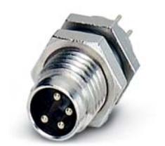 针式PCB焊接连接面板前M8法兰插座