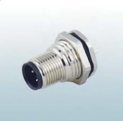 针式PCB焊接连接面板前M12法兰插座