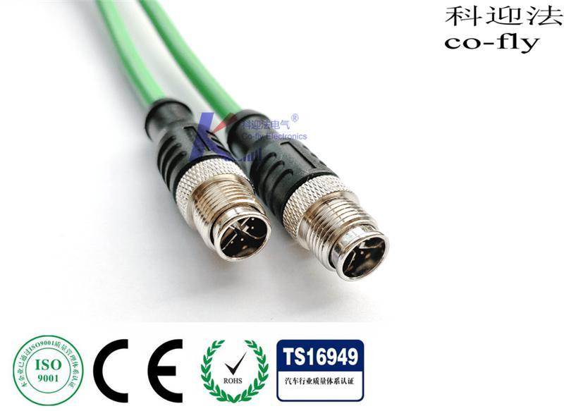 M12以太网连接器 8PIN X型直式插座连接器