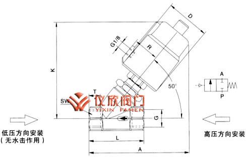 气动角座阀外形尺寸图